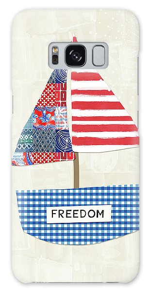 Usa Galaxy Case - Freedom Boat- Art By Linda Woods by Linda Woods