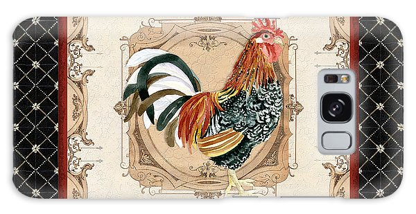 Country Living Galaxy Case - French Country Roosters Quartet Black 1 by Audrey Jeanne Roberts