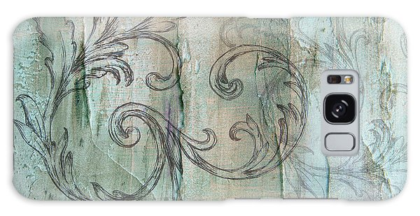 French Country Scroll In Muted Blue Galaxy Case