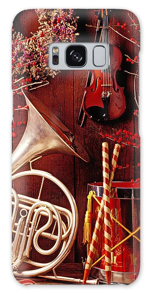 Drum Galaxy Case - French Horn Christmas Still Life by Garry Gay