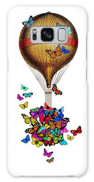 Hot Air Balloons Galaxy Case - French Hot Air Balloon With Rainbow Butterflies Basket by Madame Memento