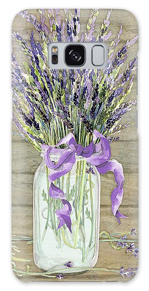 French Lavender Rustic Country Mason Jar Bouquet On Wooden Fence Galaxy Case
