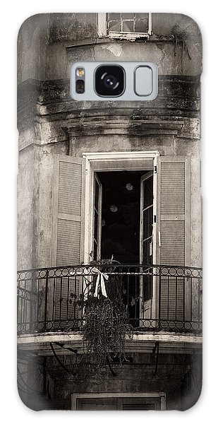 French Quarter Balcony In Black And White Galaxy Case