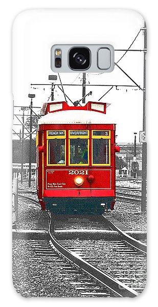French Quarter French Market Cable Car New Orleans Color Splash Black And White With Film Grain Galaxy Case
