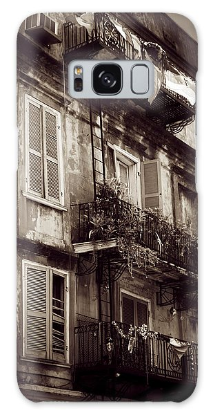 French Quarter Shutters And Balconies In Sepia Galaxy Case