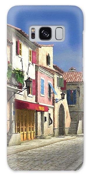 French Village Scene With Cobblestone Street Galaxy Case