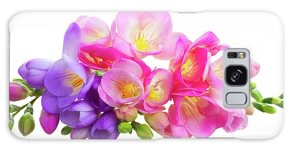 Fresh Pink And Violet Freesia Flowers Galaxy Case