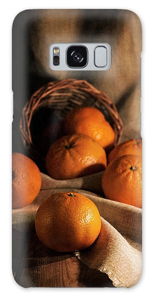 Fresh Tangerines In Brown Basket Galaxy Case by Jaroslaw Blaminsky