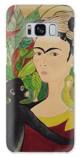 Frida With Monkey And Bird Galaxy Case