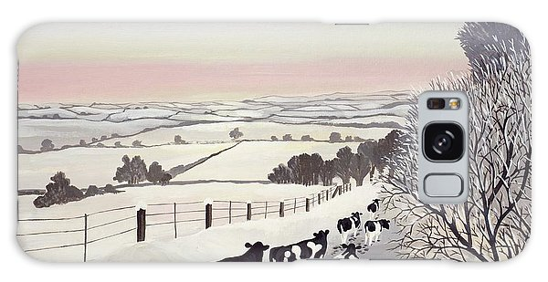 Landscape Galaxy Case - Friesians In Winter by Maggie Rowe