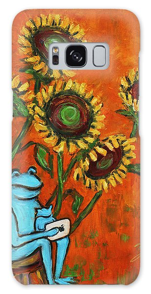 Frog I Padding Amongst Sunflowers Galaxy Case