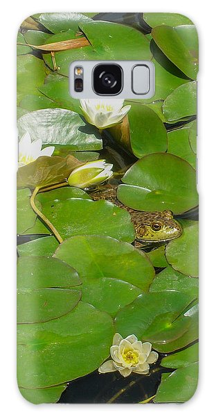 Frog With Water Lilies Galaxy Case by Mark Barclay
