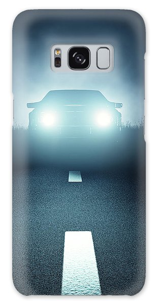 Automobile Galaxy Case - Front Car Lights At Night On Open Road by Johan Swanepoel