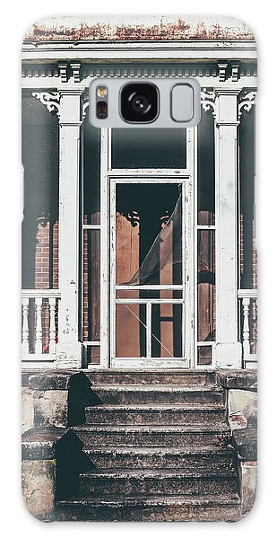 Galaxy Case featuring the photograph Front Door Of Abandoned Building by Kim Hojnacki