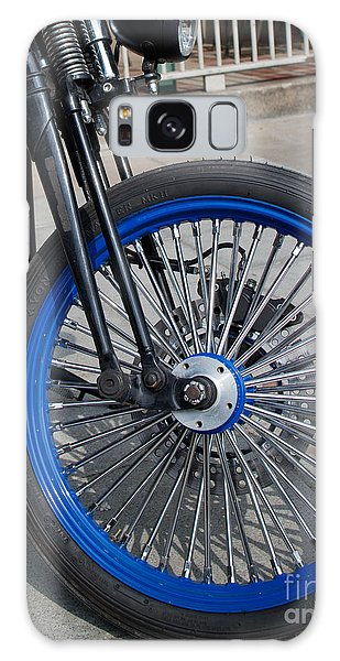 Front Wheel With Blue Rims And Fat Chrome Spokes Of Vintage Styl Galaxy Case