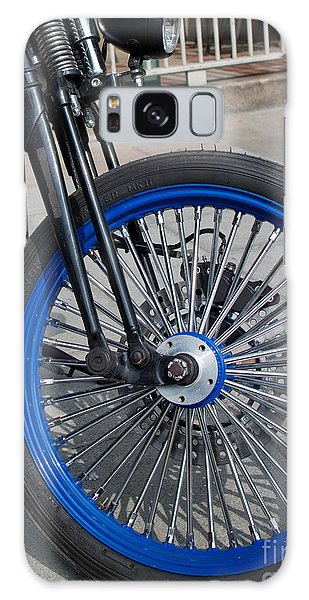 Front Wheel With Blue Rims And Fat Chrome Spokes Of Vintage Styl Galaxy Case by Jason Rosette