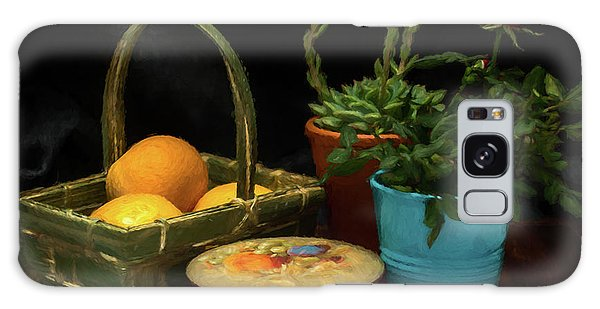 Fruit And Flowers Still Life Digital Painting Galaxy Case