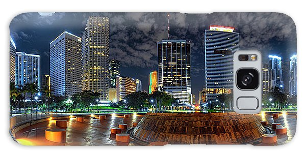 Full Moon Over Bayfront Park In Downtown Miami Galaxy Case