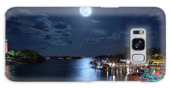 Full Moon Over Jupiter Lighthouse And Inlet In Florida Galaxy Case