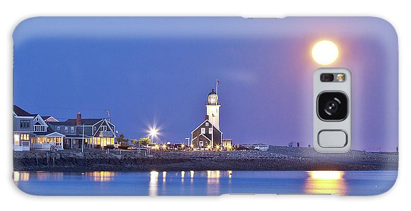 Full Moon Over Scituate Light Galaxy Case