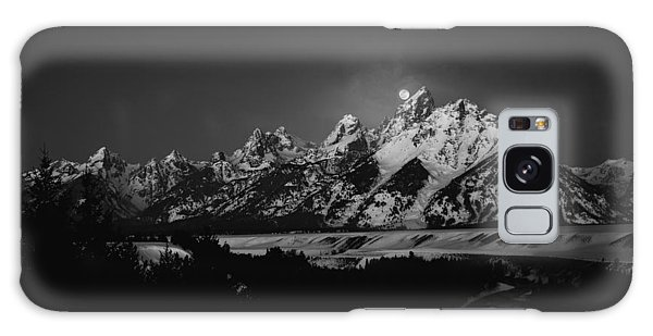 Full Moon Sets In The Tetons Galaxy Case