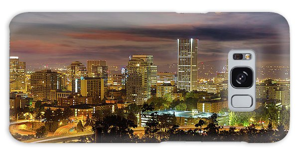 Galaxy Case - Full Moon Rising Over Downtown Portland by David Gn