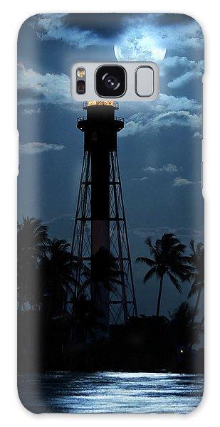 Full Moon Rising Over Hillsboro Lighthouse In Pompano Beach Florida Galaxy Case