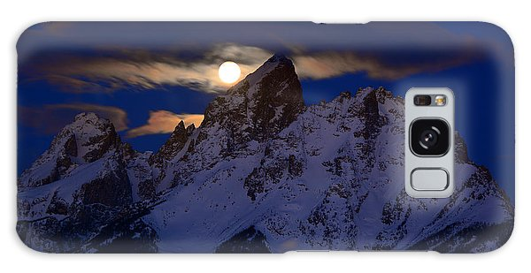 Full Moon Sets Over The Grand Teton Galaxy Case