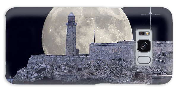 Full Moonrise Over The Castillo De Los Tres Reyes Magos Del Morro, Havana, Cuba Galaxy Case