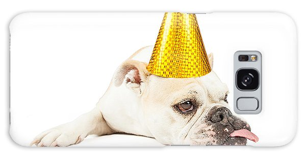 Funny Bulldog Wearing A Yellow Party Hat  Galaxy Case