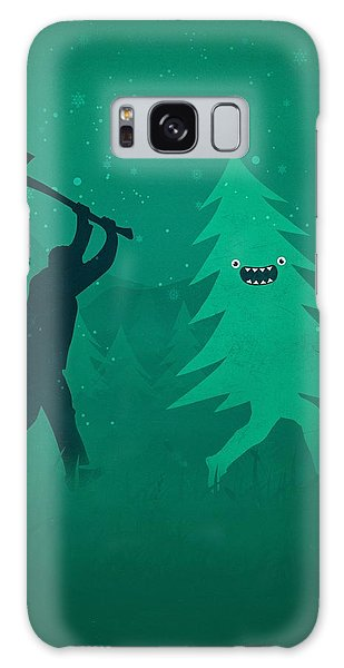 Funny Cartoon Christmas Tree Is Chased By Lumberjack Run Forrest Run Galaxy Case