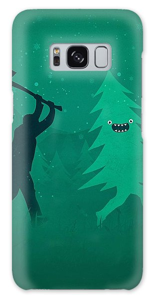 Cartoon Galaxy Case - Funny Cartoon Christmas Tree Is Chased By Lumberjack Run Forrest Run by Philipp Rietz