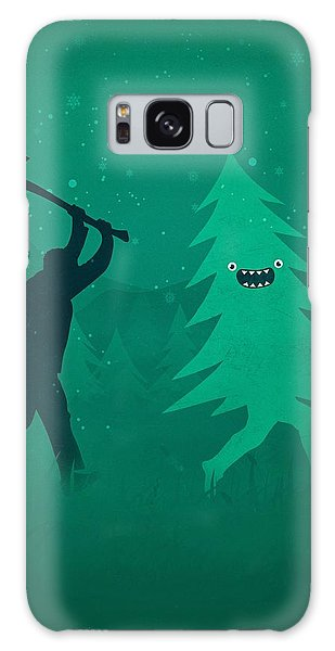 Funny Cartoon Christmas Tree Is Chased By Lumberjack Run Forrest Run Galaxy Case by Philipp Rietz