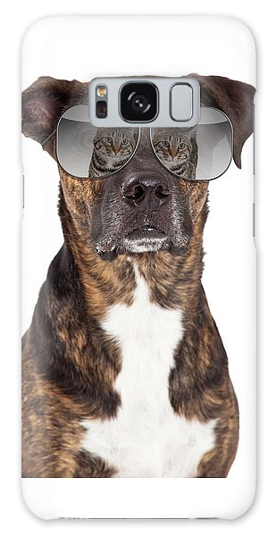 Funny Dog With Cat Reflection In Sunglasses Galaxy Case
