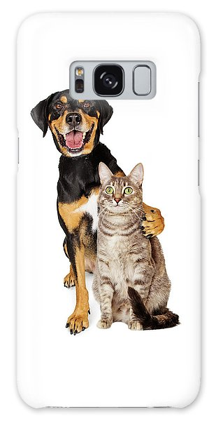 Funny Photo Of Dog With Arm Around Cat Galaxy Case