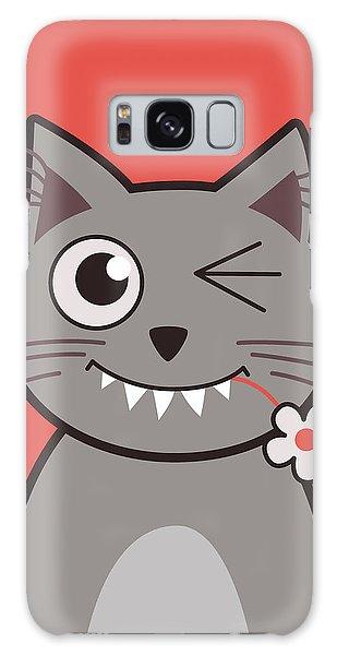 Funny Winking Cartoon Kitty Cat Galaxy Case
