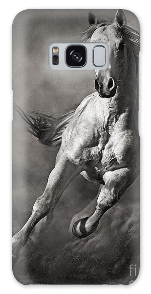 Galloping White Horse In Dust Galaxy Case