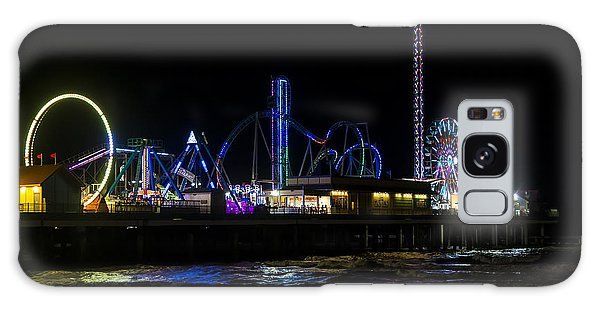 Galveston Island Historic Pleasure Pier At Night Galaxy Case