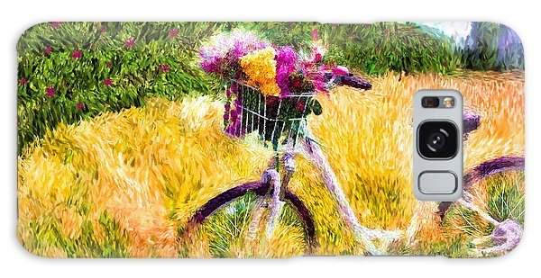 Garden Bicycle Print Galaxy Case by Tina LeCour