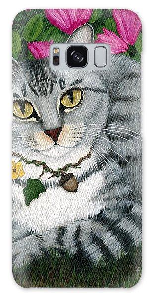 Garden Cat - Silver Tabby Cat Azaleas Galaxy Case