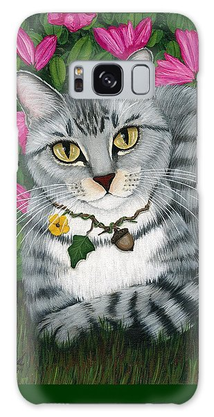 Galaxy Case featuring the painting Garden Cat - Silver Tabby Cat Azaleas by Carrie Hawks