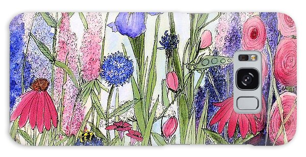Garden Cottage Iris And Hollyhock Galaxy Case by Laurie Rohner