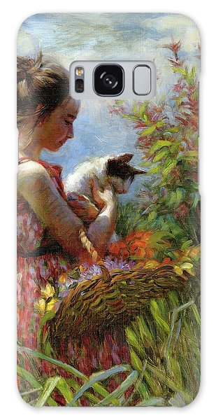 Galaxy Case featuring the painting Garden Gatherings by Steve Henderson