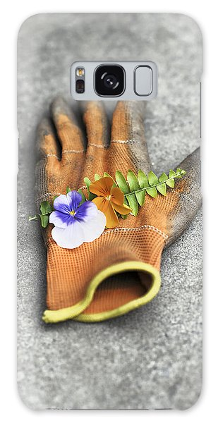 Garden Glove And Pansy Blossoms1 Galaxy Case