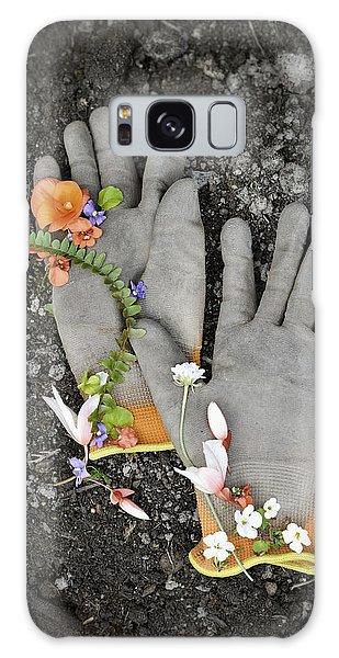 Garden Gloves And Flower Blossoms Galaxy Case