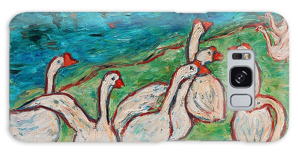 Galaxy Case featuring the painting Geese By The Pond by Xueling Zou