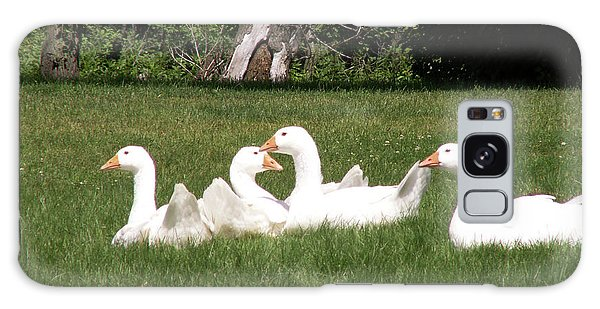 Geese In The Grass Galaxy Case