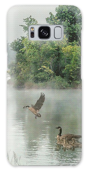 Geese On Misty Lake Galaxy Case