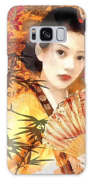 Geisha With Fan Galaxy Case