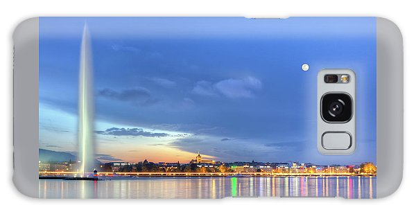 Geneva Lake With Famous Fountain, Switzerland, Hdr Galaxy Case